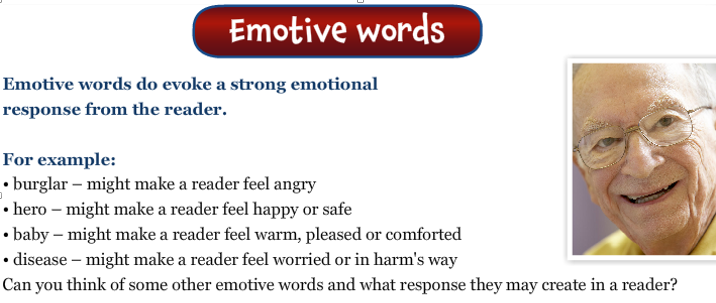 Machine generated alternative text: Emotive Lansua9e  Emotive language is used to make the reader feel  certain emotions, such as sadness or excitement.  Think about the poor,  defenceless animals that  are suffering because of  our rubbish.  O