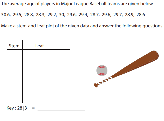 The average age of players in Major League Baseball teams are given below.  30.6, 29.5, 28.8, 28.3, 29.2, 30, 29.6, 29.4, 28.7, 29.6, 29.7, 28.9, 28.6  Make a stem-and-leaf plot of the given data and answer the following questions.  Stem  Key: 2813  Leaf