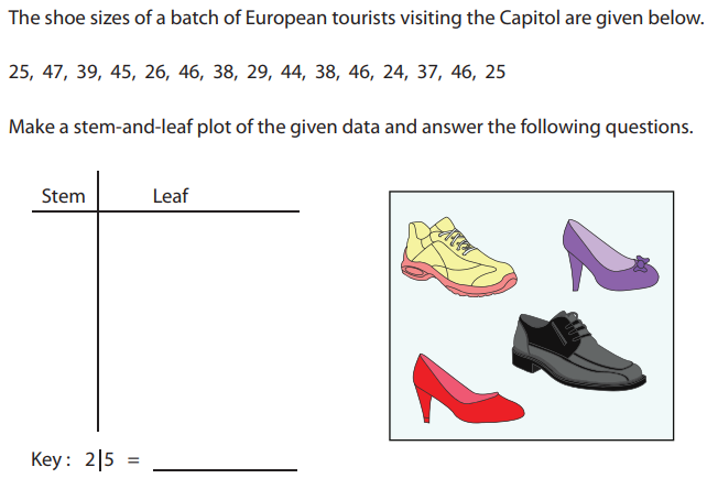 The shoe sizes of a batch of European tourists visiting the Capitol are given below.  25, 47, 39, 45, 26, 46, 38, 29, 44, 38, 46, 24, 37, 46, 25  Make a stem-and-leaf plot of the given data and answer the following questions.  Stem  Key :  Leaf  215 =